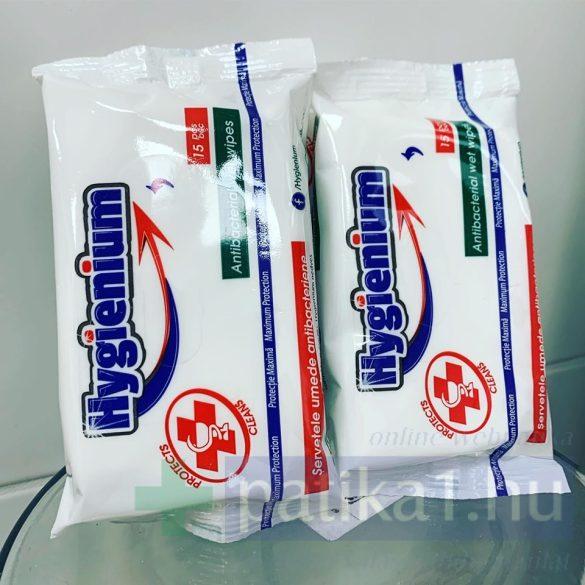 Hygienium antibakteriális nedves törlőkendő 15x
