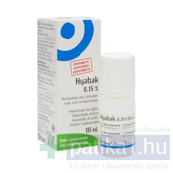 Hyabak nedvesítő szemcsepp 0,15% 10 ml