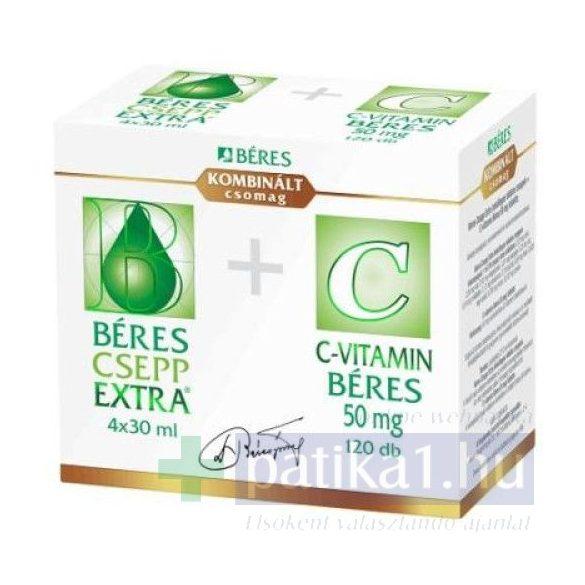 Béres Csepp Extra belsőleges oldatos cseppek 4x30 ml + C-vitamin 50 mg 120 db Kombinált csomag