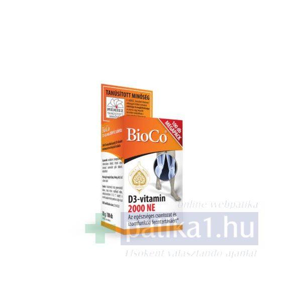 BioCo D3-vitamin 2000 NE étrendkiegészítő Megapack 100 db tabletta