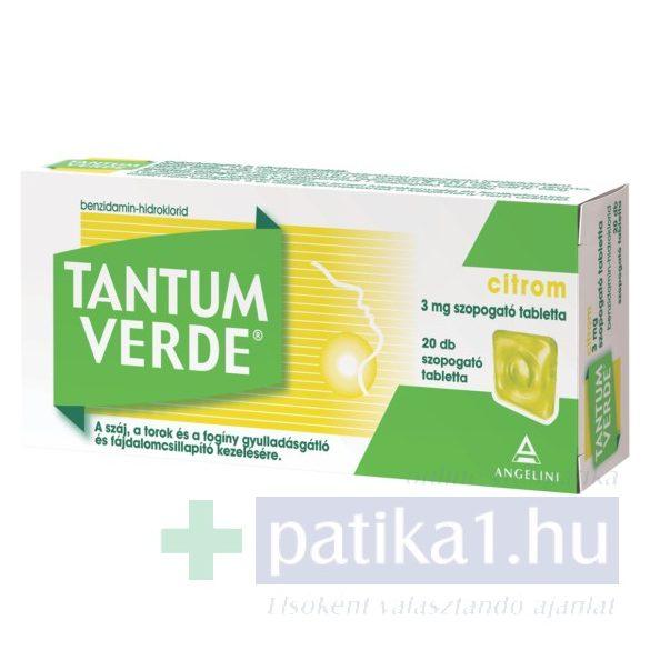 Tantum Verde citrom 3 mg szopogató tabletta 20 db