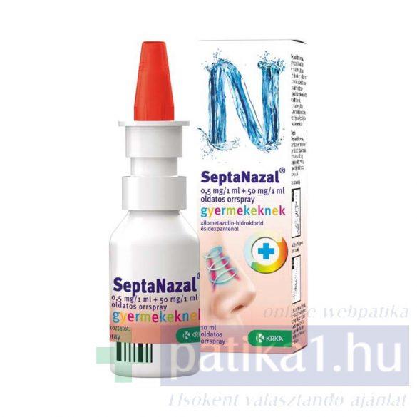 Septanazal 0,5 mg/1ml+50mg/1ml old. orrspray 10 ml gyerekeknek