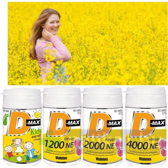 Vitabalans D-Max Kids D3-vitamin 400 NE rágótabletta 90 db