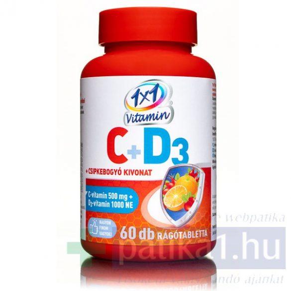 Vitaplus 1x1 Vitaday C-vitamin 500 mg + D3 + csipkebogyó kivonat rágótabletta 60 db