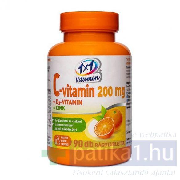 Vitaplus 1x1 Vitaday C-vitamin 200 mg +D3 + Cink rágótabletta 90 db