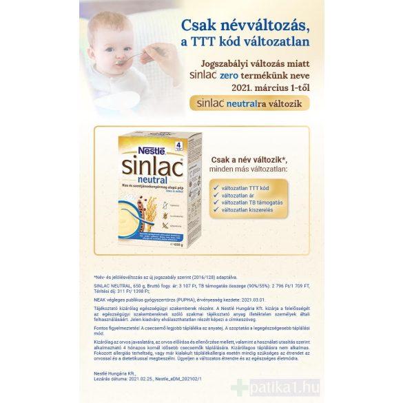 Sinlac Neutral rizs és szentjánoskenyérmag alapú pép 650 g
