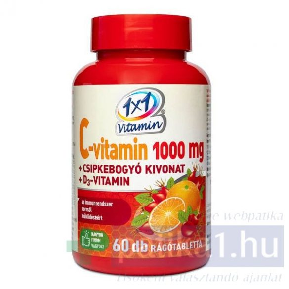 Vitaplus 1x1 Vitaday C-vitamin 1000 mg + D3 + csipkebogyó kivonat rágótabletta 60 db