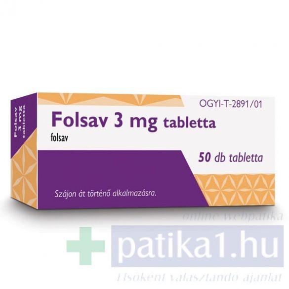 Folsav 3 mg tabletta 50 db