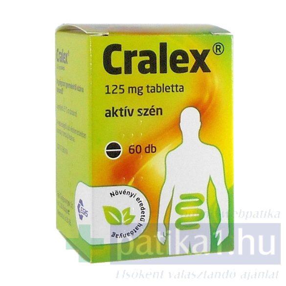 Cralex 125 mg tabletta 60 db (Carbo activatus/aktív szén)