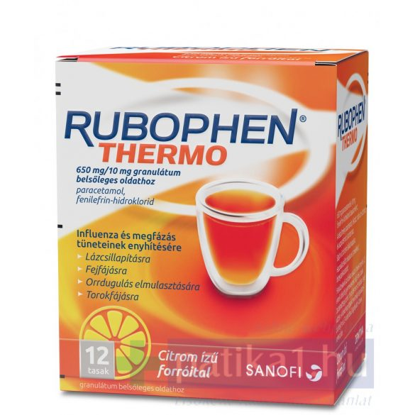 Rubophen Thermo 650/10mg granulátum belsőleges oldathoz citromos 12 db